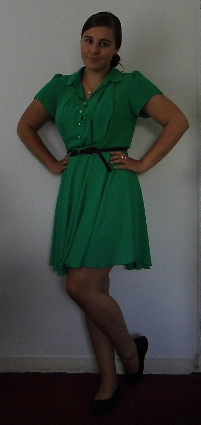 Green Tea Dress, Betty London Shoes
