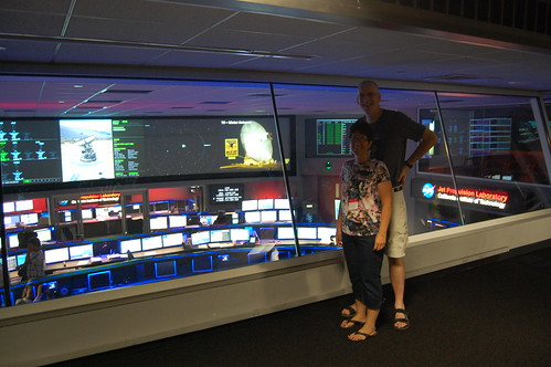 Justin and his doughter in Mission control at NASA