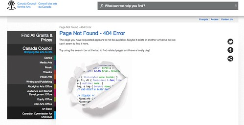 cute graphic on the Canada Council for the Arts #404Error page