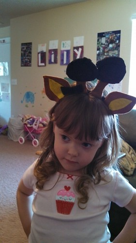Lily's new giraffe headband