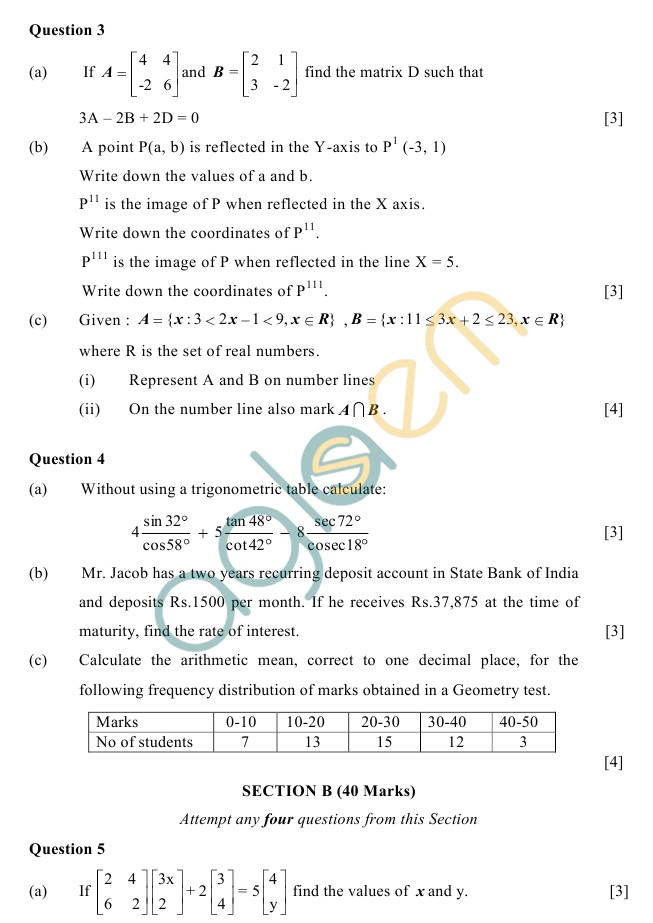 ICSE Class 10 Sample Paper 2019, 2018, 2017 – Mathematics – AglaSem