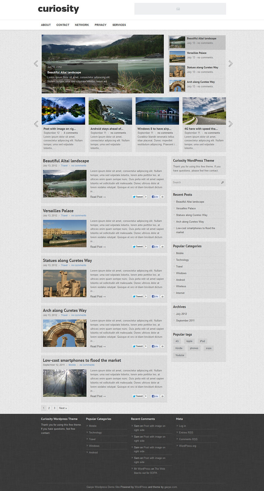 Curiosity WordPress Theme