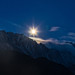 Zugspitze at full moon.