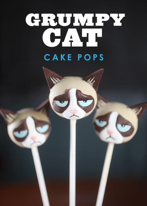Grumpy Cat Cake Pops
