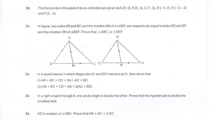 CBSE Class IX Maths Sample Paper Part E