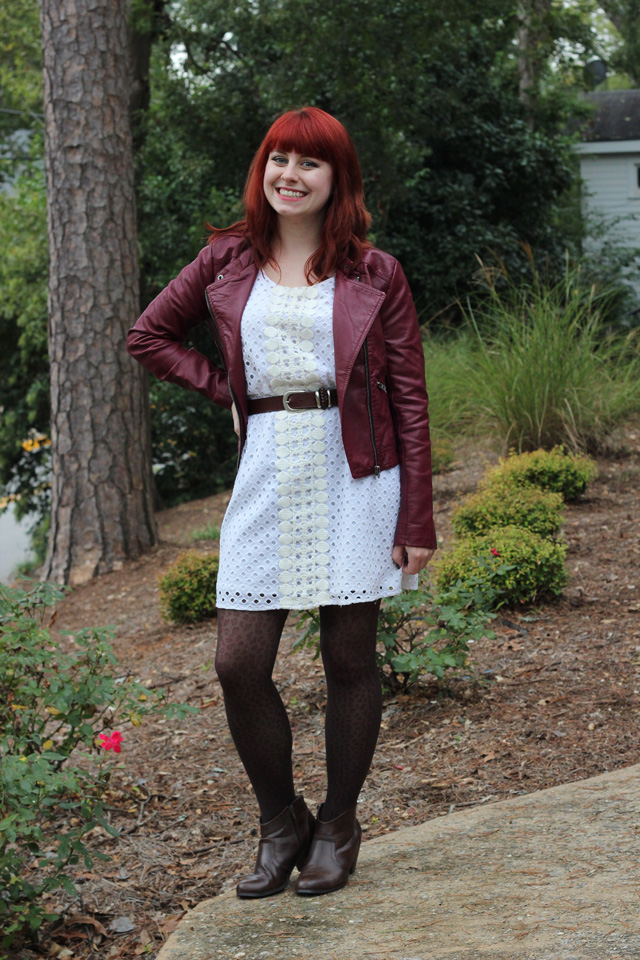 Burgundy Leather Jacket, White Eyelet Dress, Leopard Print Tights