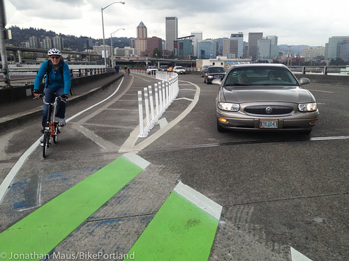 Plastic bollards on Hawthorne Bridge-6