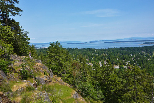 View of Sidney and Haro Strait from John Dean Park, Mount Newton, North Saanich, Victoria, Vancouver Island, British Columbia, Canada