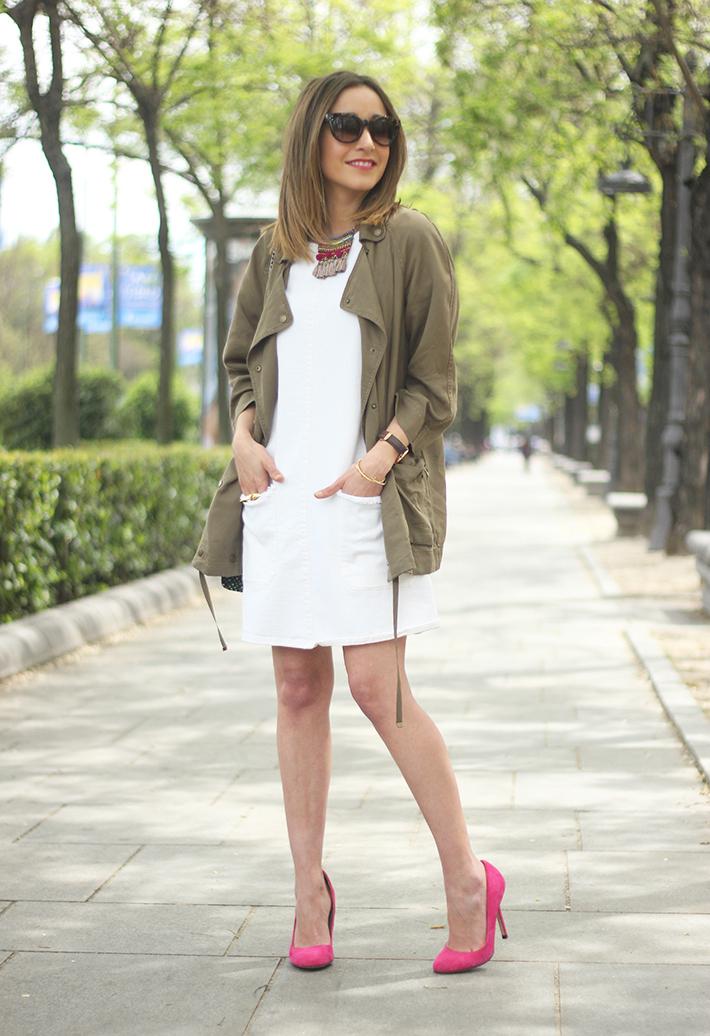 White denim Dress Khaki trench17