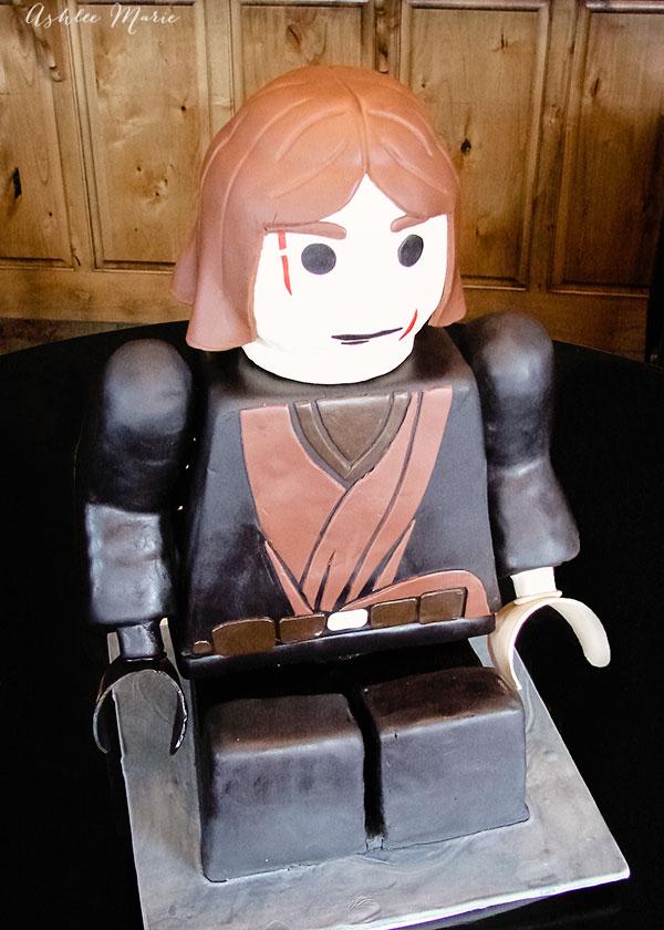 Sitting Lego Anakin Skywalker Carved Birthday Cake
