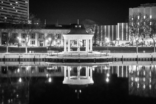 Night, Milwaukee, Riverwalk, Reflection, Gazebo, Monochrome, B&W