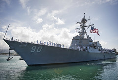 USS Chafee (DDG 90) pulls away from the pier at Joint Base Pearl Harbor-Hickam, May 18. (U.S. Navy/MC2 Diana Quinlan)