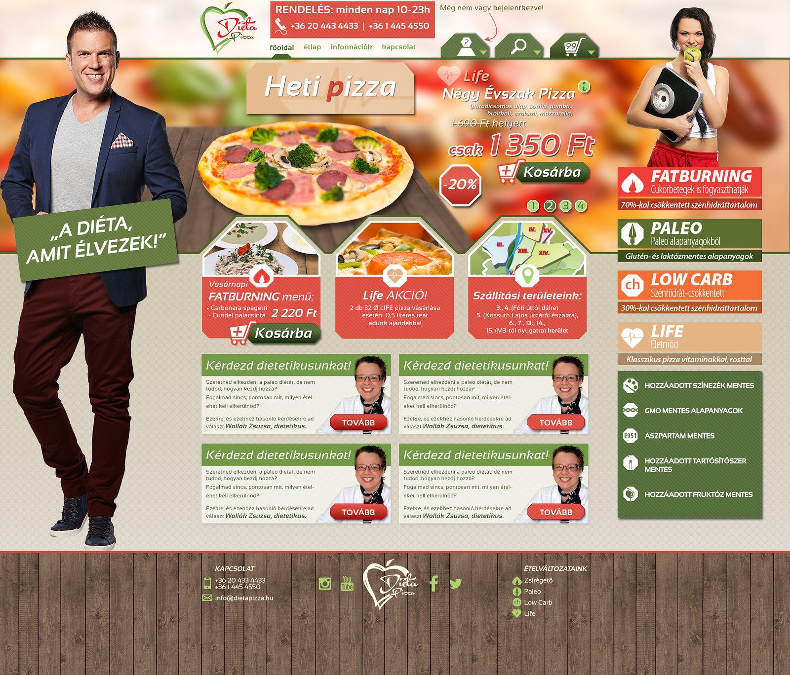 Diéta Pizza web nyitóoldal terv