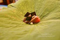 Katsuo tuna on a lotus leaf at an elegant restaura…