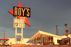 Roy's Motel and Cafe on Route 66 captured in the early morning golden hour