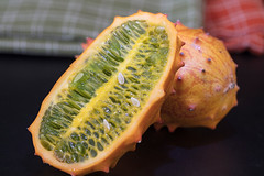 Two Orange Kiwano Fruit On A Table