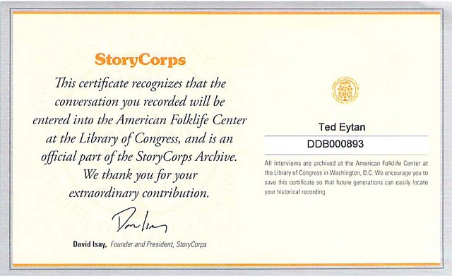 StoryCorps Certificate Ted Eytan and Regina Holliday