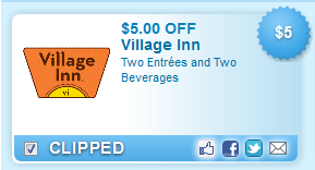 Village Inn Entrees And Two Beverages Coupon