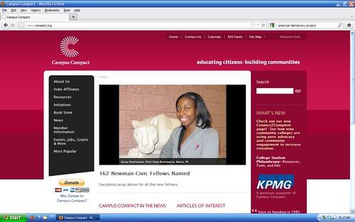 Zanya Stephenson, 2012 Newman Civic Fellow, on Campus Compact website