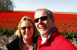 Zelfportret met tulpen