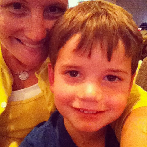 My littlest guy was a little sad when I left him at VBS...I came back to sit with him.