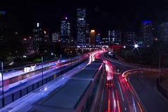 Brisbane city traffic trails
