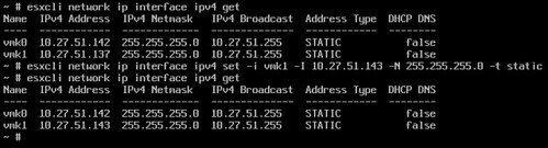 change ip address of esxi