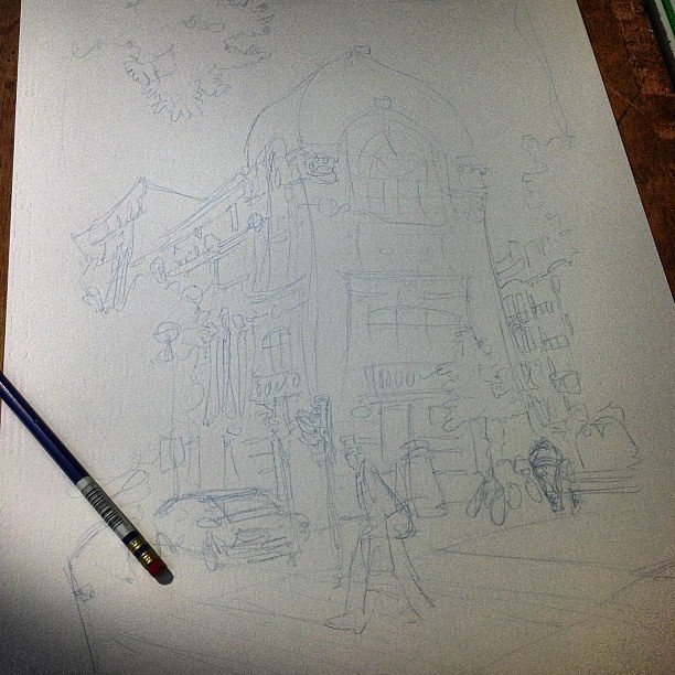 In progress, rough sketch, col erase blue pencil