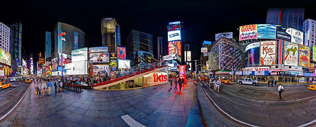 Panorama of Times Square at Night