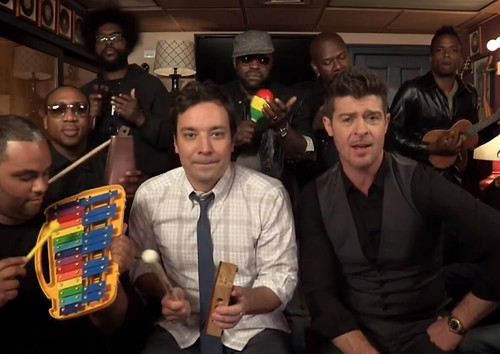 "Robin Thicke, The Roots & Jimmy Fallon Perform ""Blurred Lines"" on 'Late Night'"