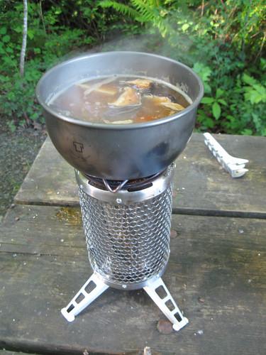 Biolite Stove - cooking soba