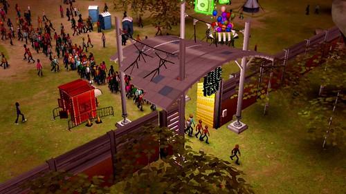 People leaving a festival