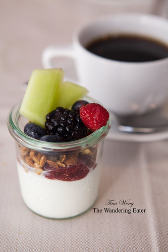 Yogurt layered with housemade Mission Fig jam, granola, fresh berries and honeydew