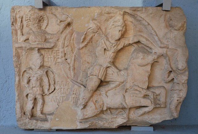 Mithras relief (CIMRM 1910-1911), found in Golubic (Bosnia and Herzegovina),  Archaeological Museum, Zagreb