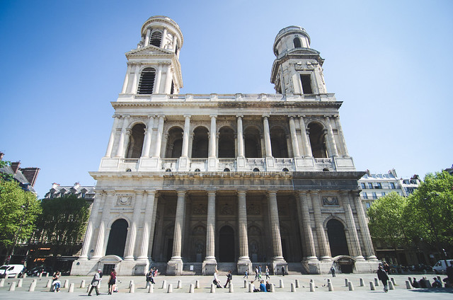 The Church of Saint-Sulpice with its mis-matched towers.