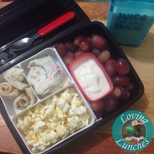 Loving Miss Ms matching Thomas the Tank lunch for tomorrow… 'I Choo-choose you! ❤️' 🚂. Sandwich, popcorn, yoghurt, grapes and milk in our @boardwalkimports #JuiceInTheBox #schoollunch #JIB #funfood #funwithfood