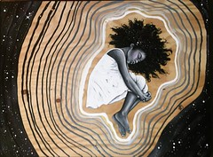 "lucid dreamer. 24x32"" oil and acrylic on wood. #artofblackness"