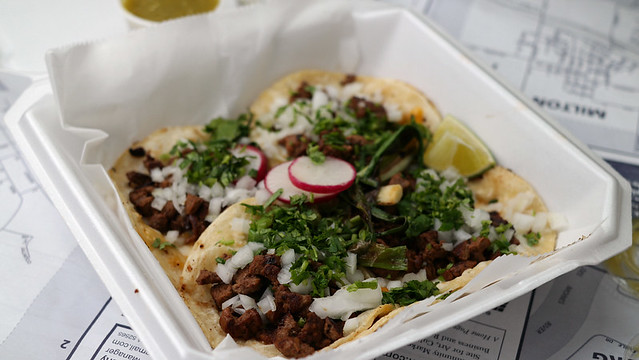 Adobado Tacos from The Hot Peppers Mexican Grill Truck in Des Moines, Iowa.