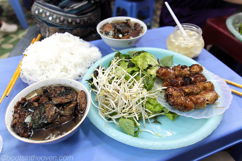 Bún chả (with crab spring rolls, of course)