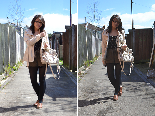 daisybutter - UK Fashion and Style Blog: what i wore, heart print, SS12, trench coat, khaki, forever 21, h&m, topshop, mulberry alexa