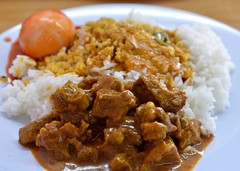 meal, stew, curry, steamed rice, japanese curry, meat, food, rice and curry, dish, cuisine,