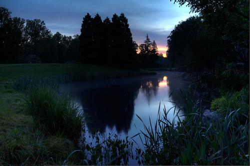 park morning reflection water sunrise dawn pond maryland hdr brooksidegardens brookside