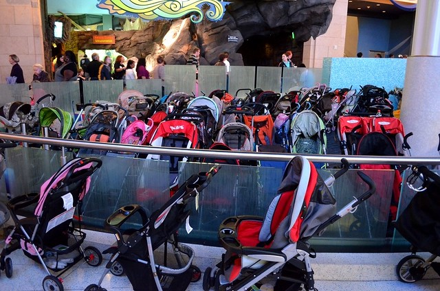 Stroller parking lot at Georgia Aquarium