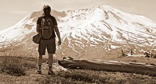 Black Watch Sasquatch on Johnston Ridge overlooking Mt. St. Helens