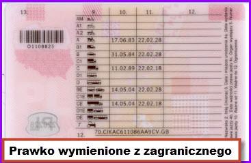 Prawo jazdy wymienione z zagranicznego