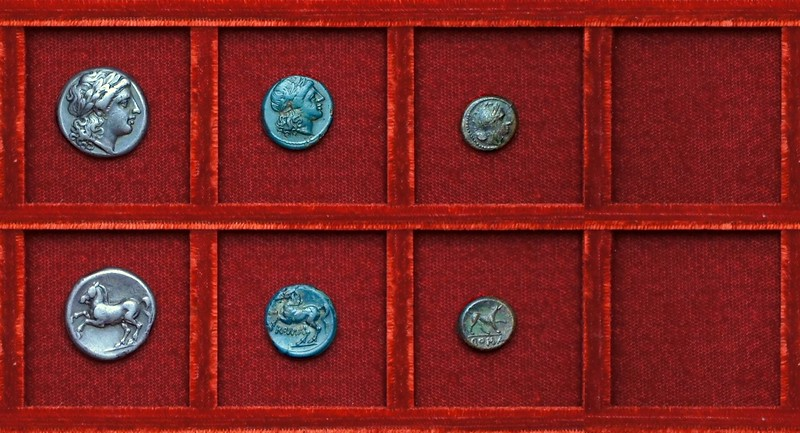 RRC 026 Apollo horse didrachm, bronze, Diana dog bronze, Ahala collection coins of the Roman Republic