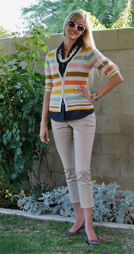 OOTD: stripes + chambray + pearls