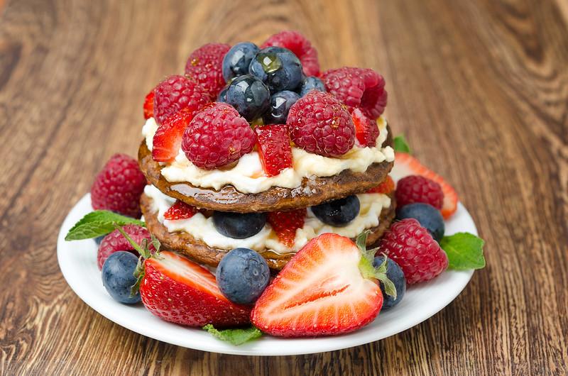 Pancake cake with fresh berries