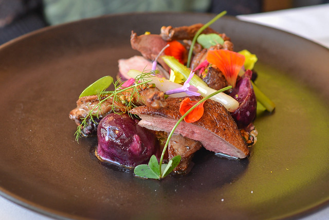 Roasted Pigeon, beet, mullberry, buckwheat, wild greens, liver