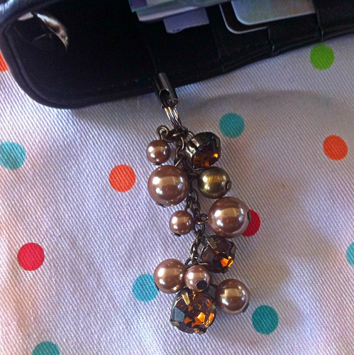 Metallic taupe, bronze, and gold rhinestone filofax charm